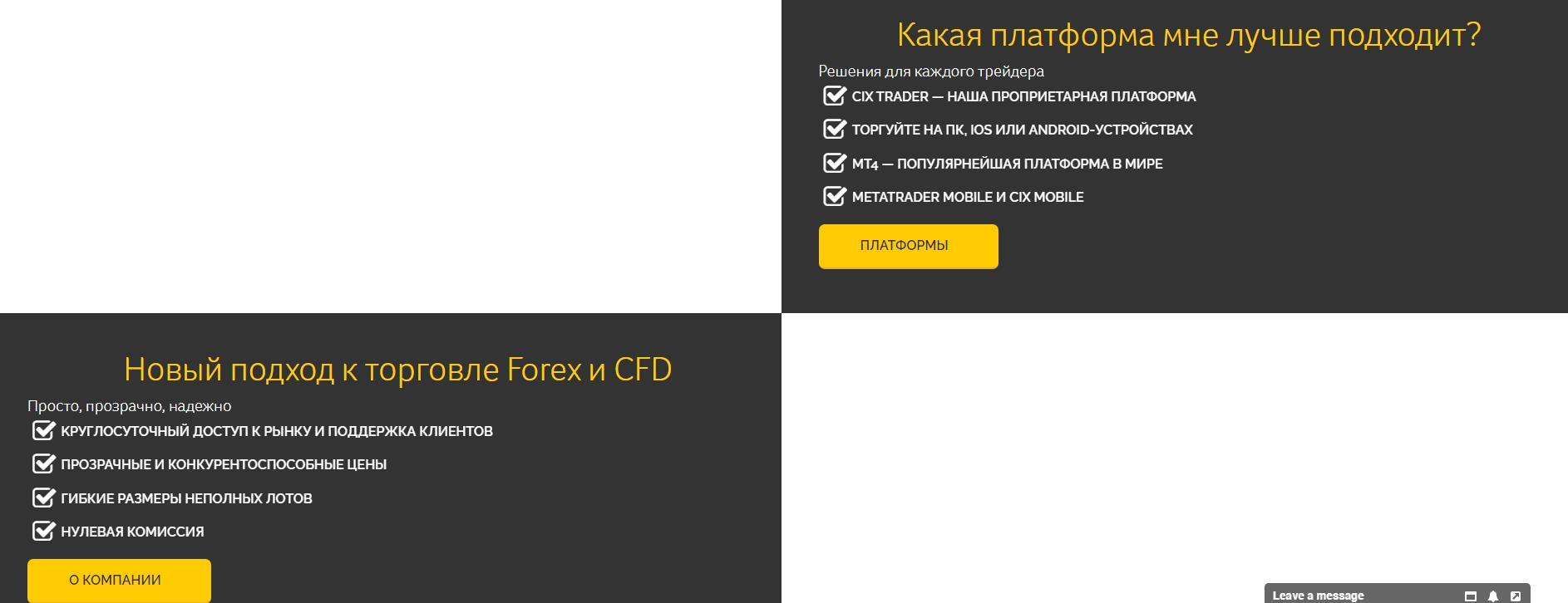 торговые условия cix markets